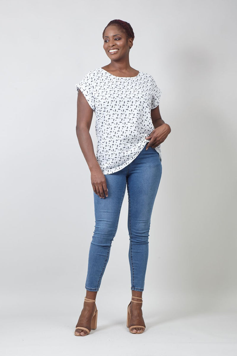 White | Curve Ditsy Feather Print T-Shirt