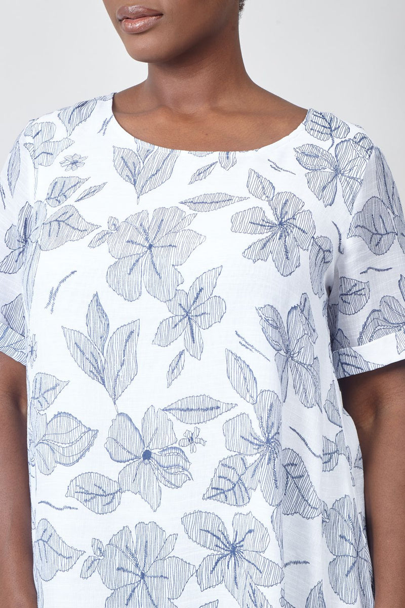 Blue | Curve Floral Print Layered Hem Swing Top