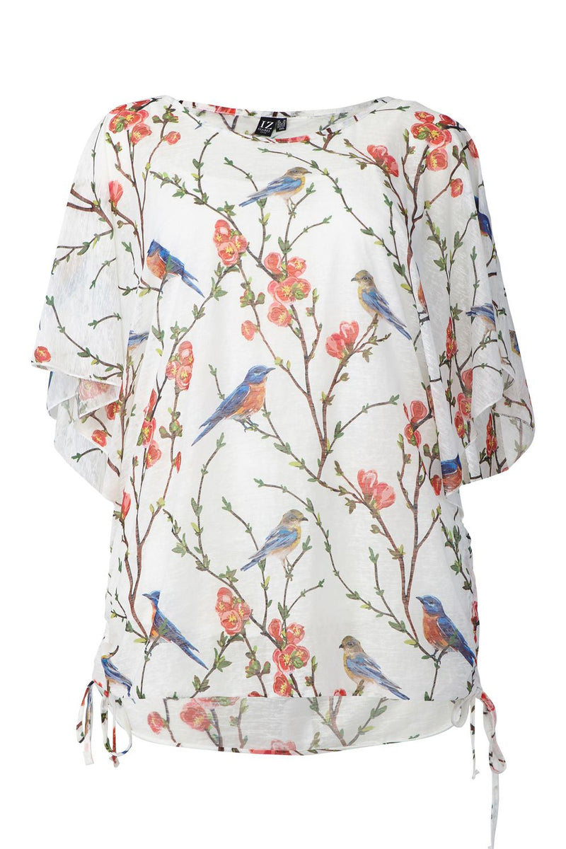 White | Curve Bird Print Tie Side T-Shirt