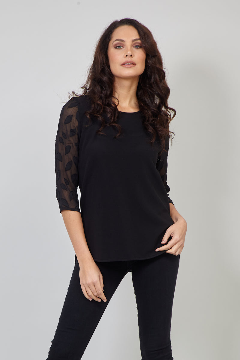 Black | Sheer Sleeve Curve Hem Top