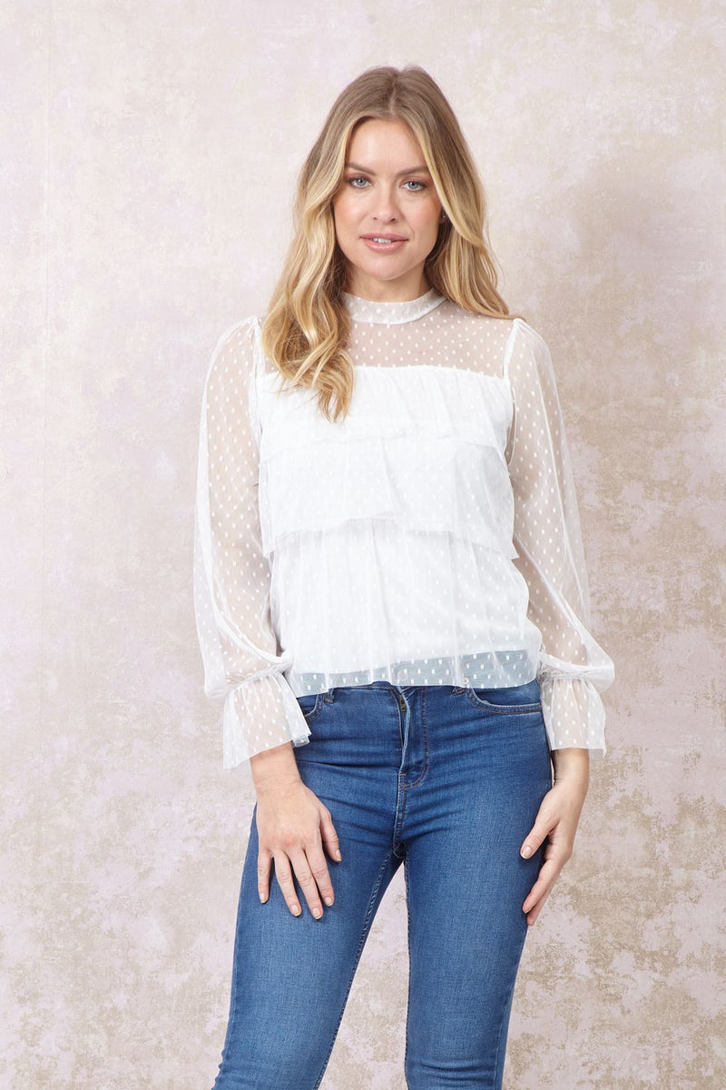 White | Organza Ruffled Front Blouse