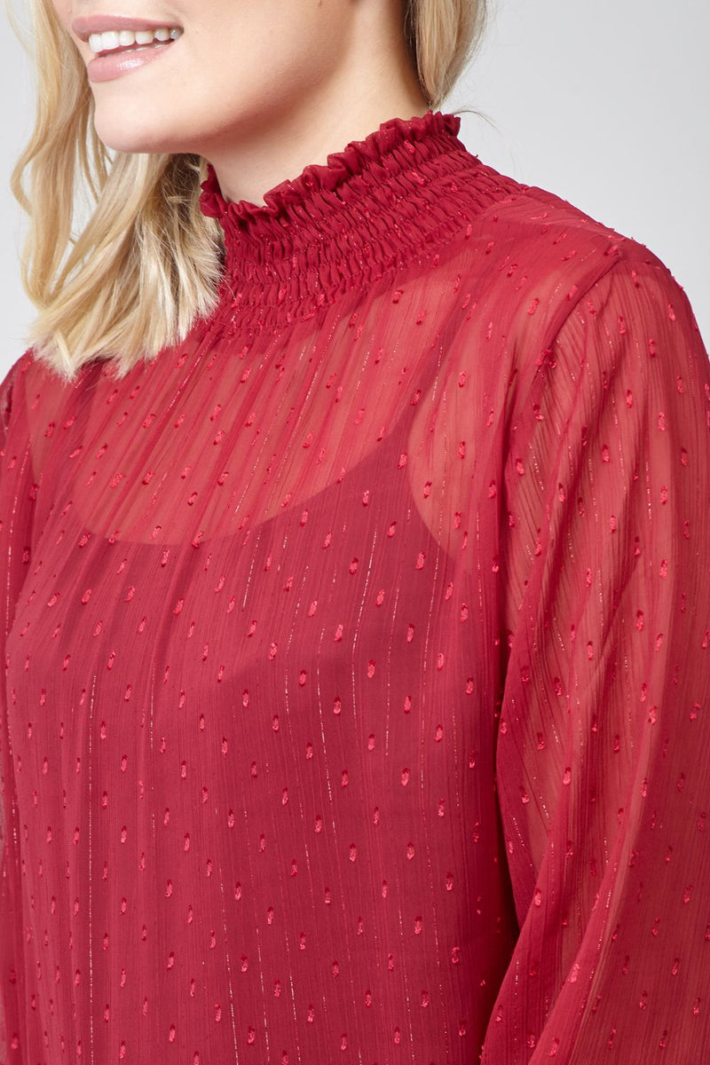 Red | Polka Dot Ruched Neck Blouse