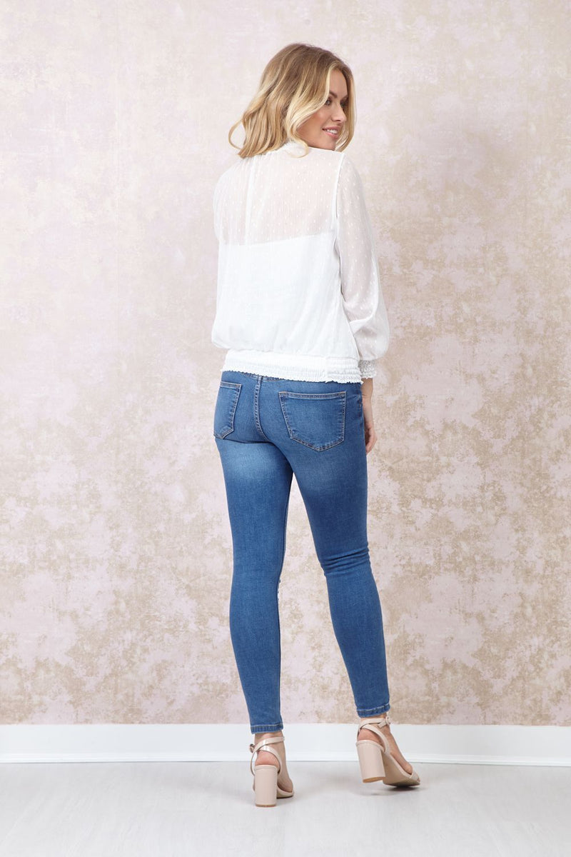 White | Polka Dot Ruched Neck Blouse