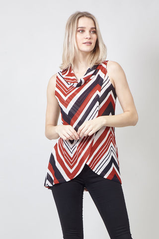 Chevron Print Wrap Dress