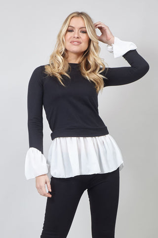 High Neck Ribbed Knit Jumper