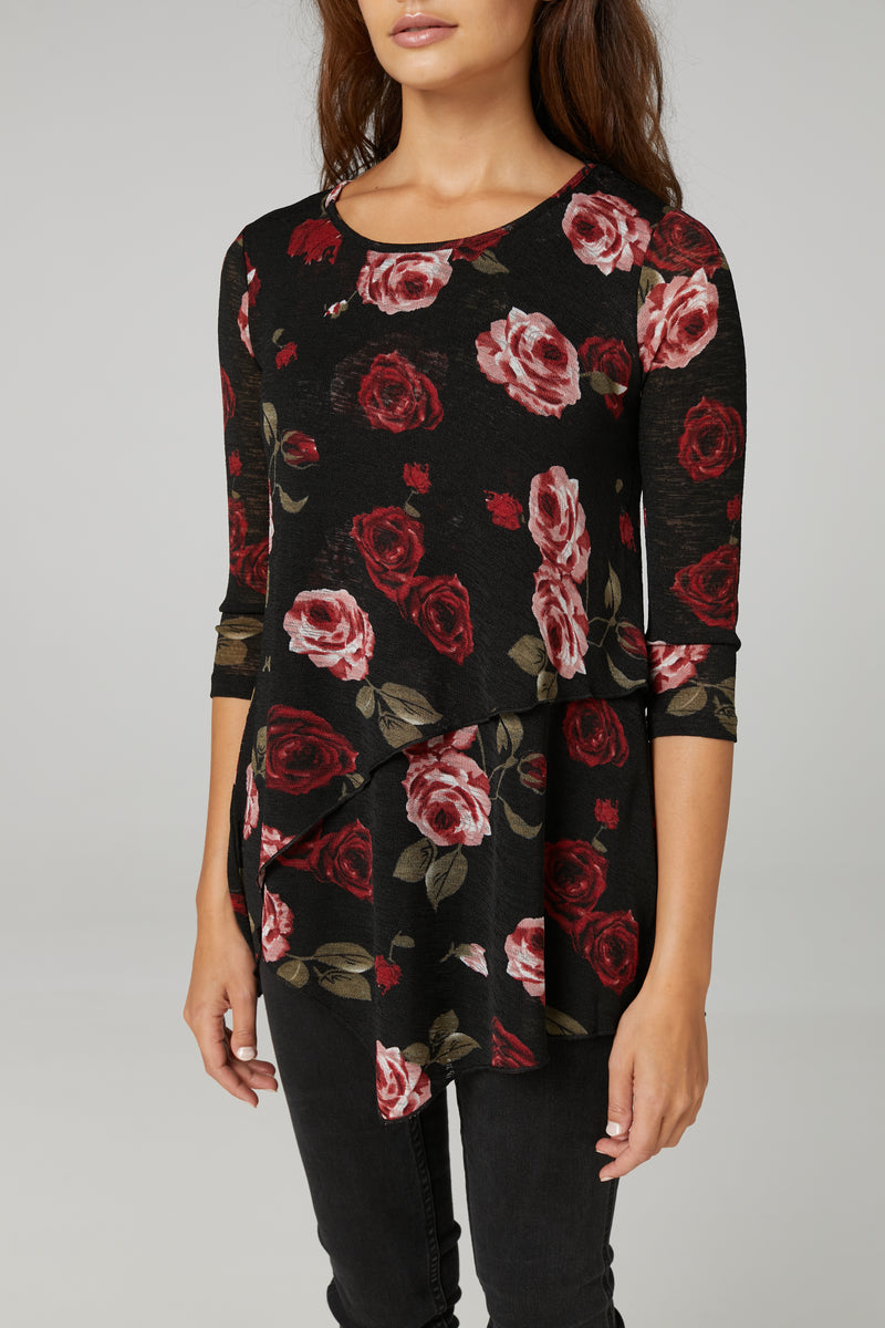 BLACK | Rose Print Layered Hem Top