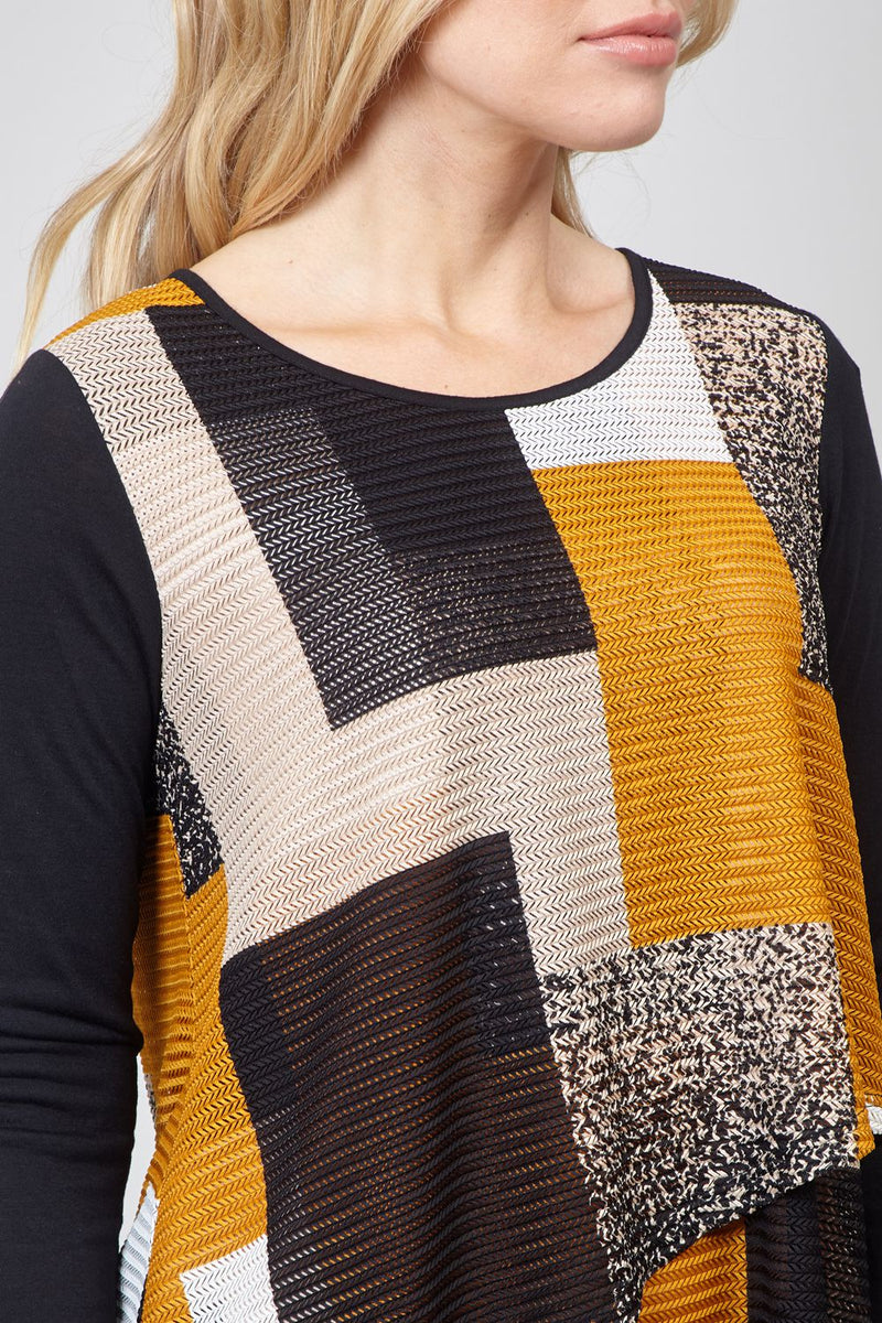 Mustard | Checked Layered Hem Top