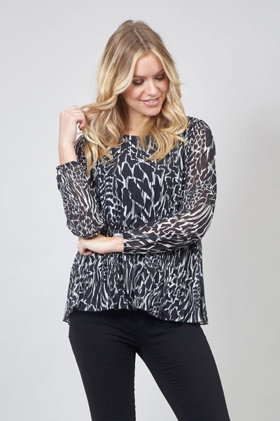 Abstract Print Pleated Swing Top