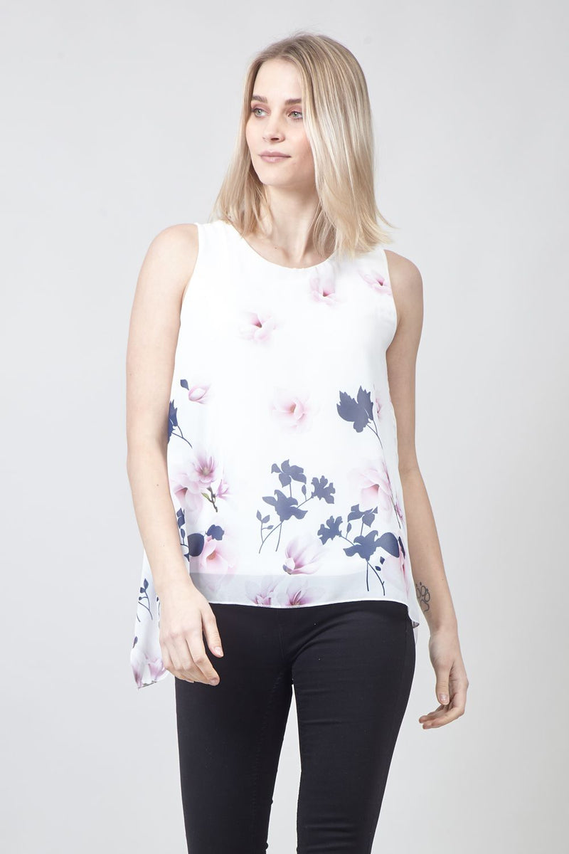 White | Floral Print Swing Vest Top
