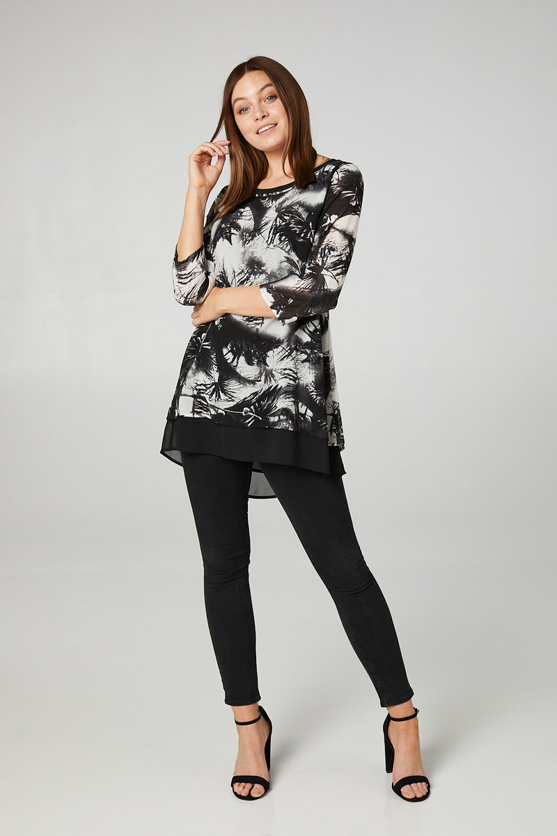 Black | Abstract Print Layered Tunic T-Shirt