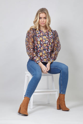 Floral Roll Neck Tunic Dress