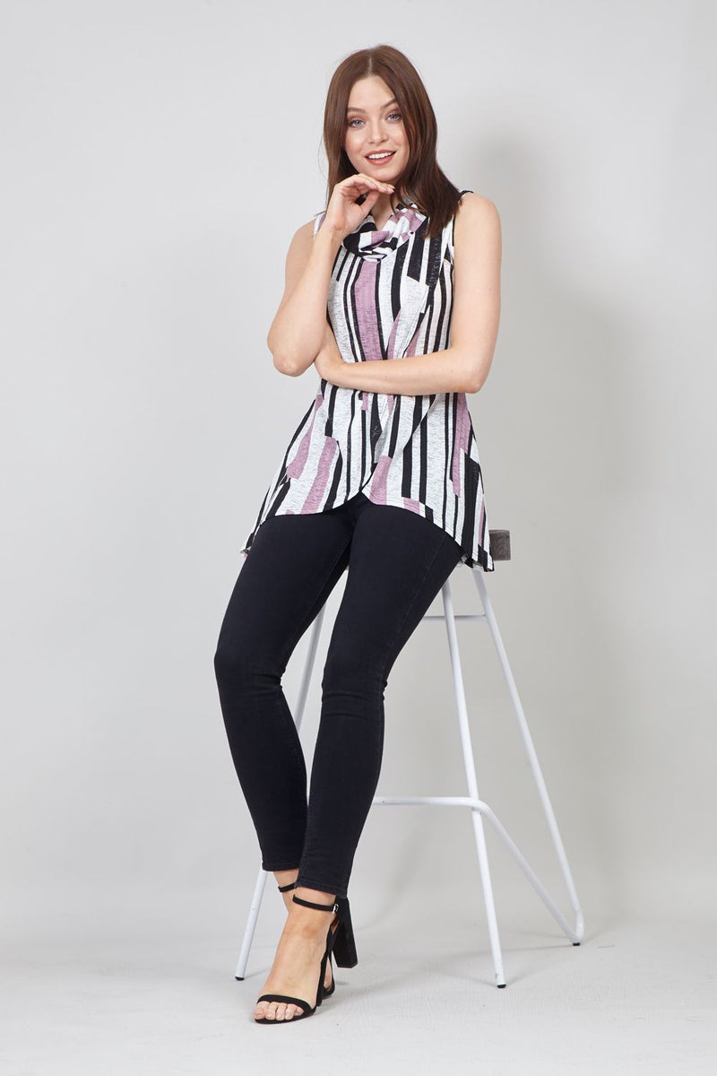 Purple | Striped Wrap Front Top