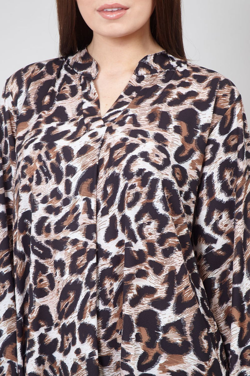 Brown | Leopard Print Oversized Smock Top