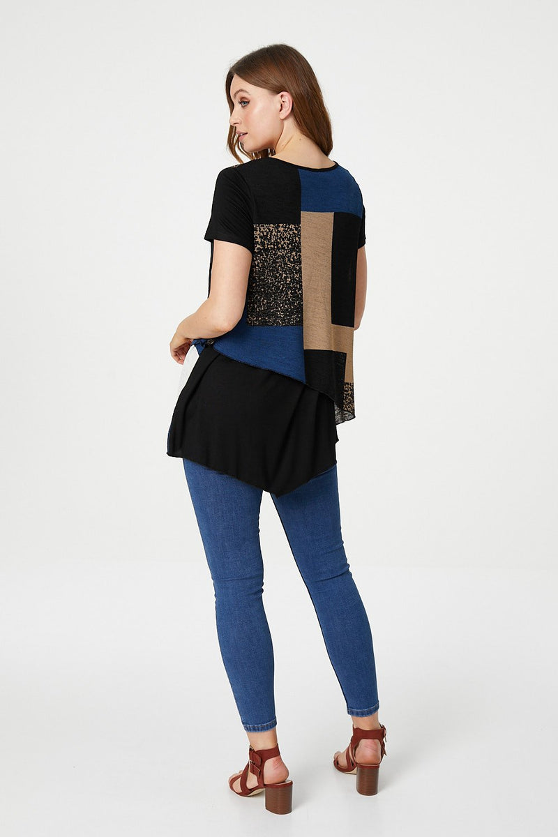 Blue | Colour Block Layered Top