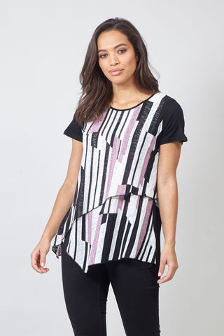 Blurred Check Tunic Top