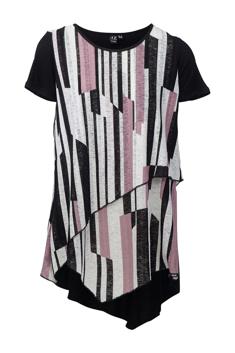 Purple | Striped Asymmetric Layered Top