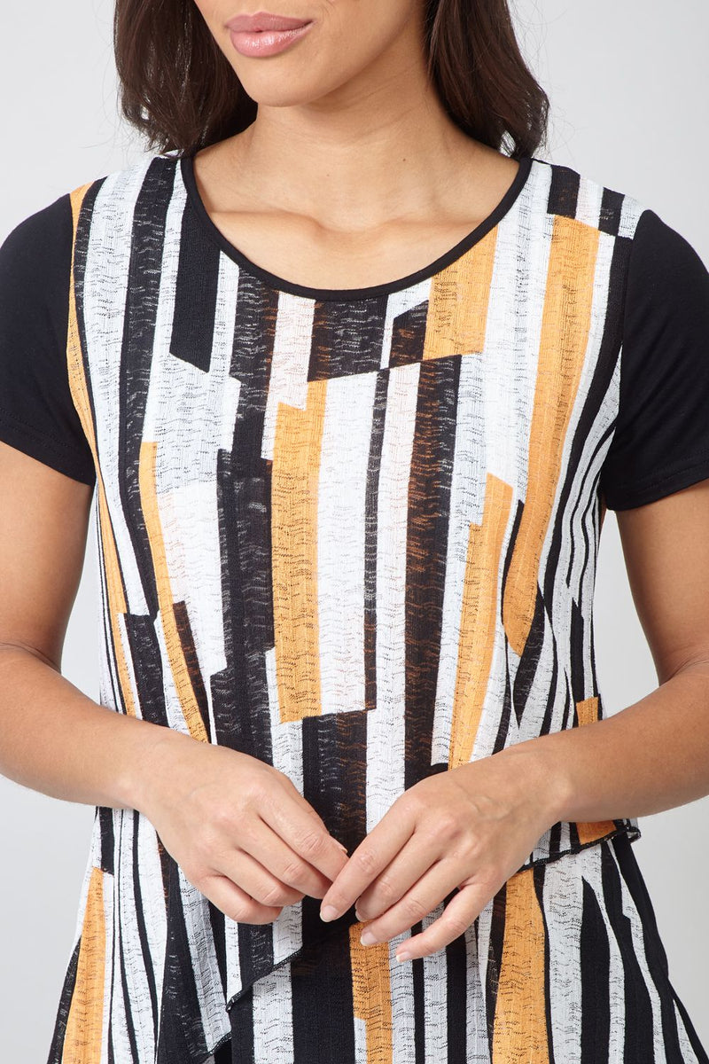 Peach | Striped Asymmetric Layered Top