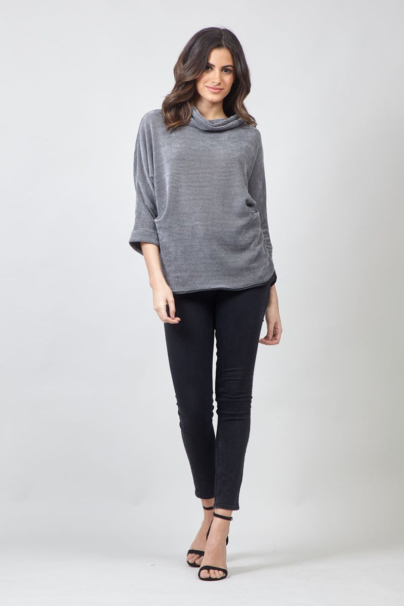 Grey | Roll Neck Jumper with Necklace