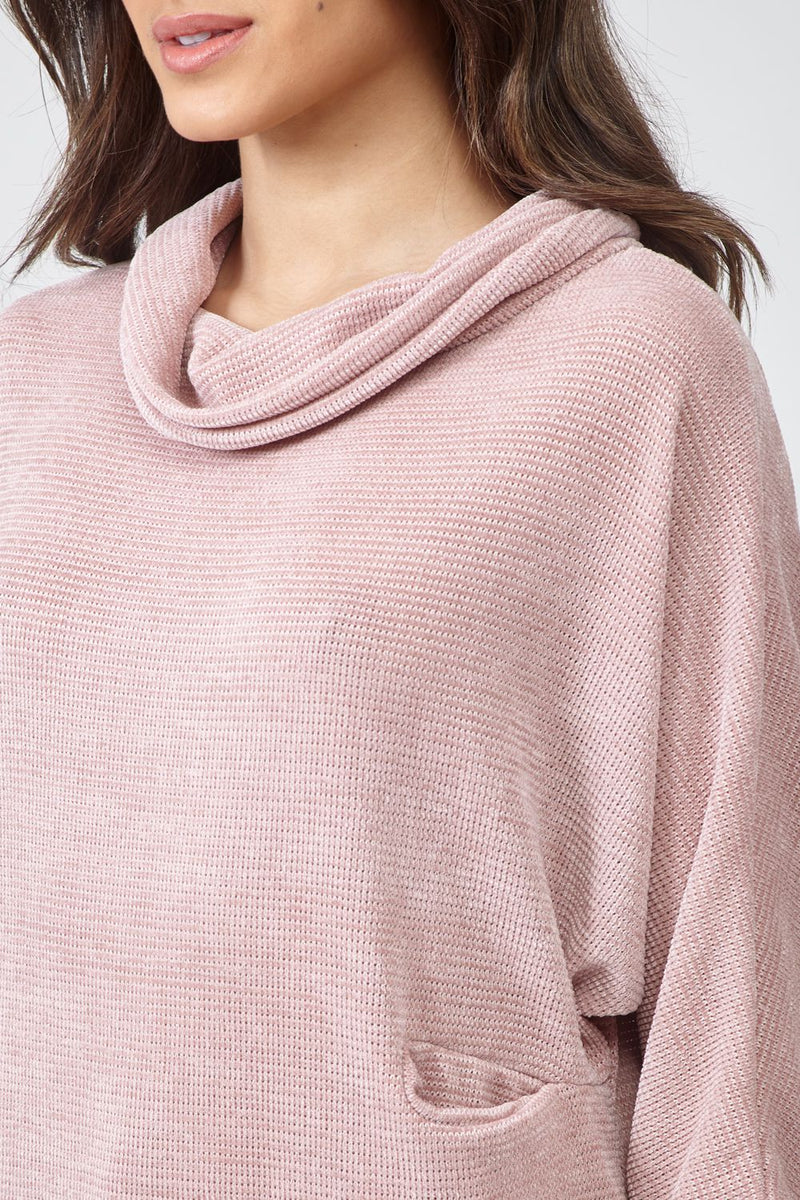 Pink | Roll Neck Jumper with Necklace