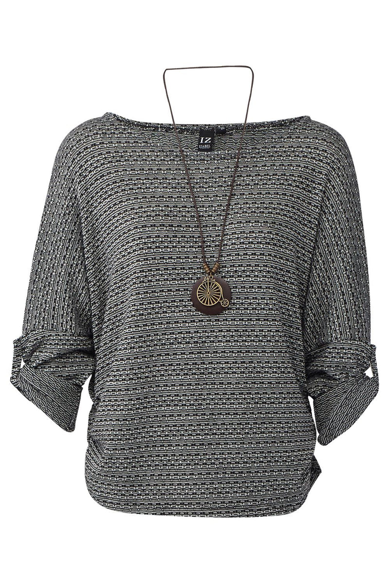 Black | Ribbed Jumper with Necklace