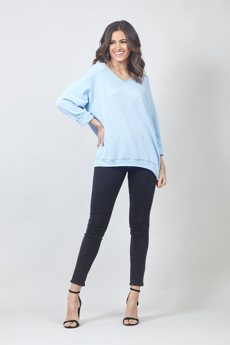 Blue | Drop Shoulder Star Patch Sweater