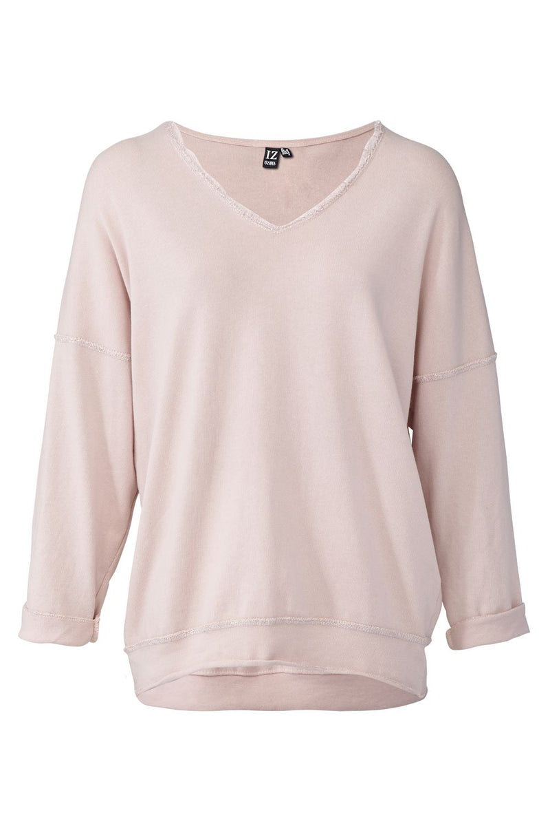 Pink | Drop Shoulder Star Patch Sweater