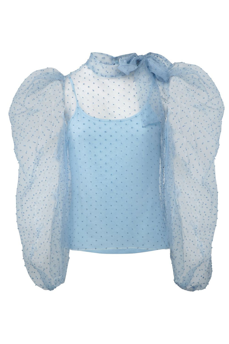 Blue | Sheer Organza Pussybow Blouse