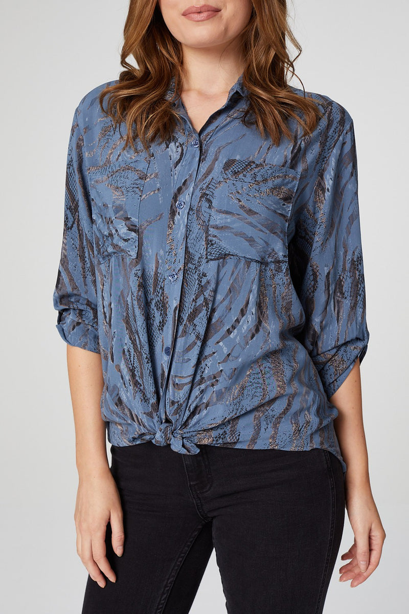 Blue | Zebra Print Tie Detail Button Front Shirt