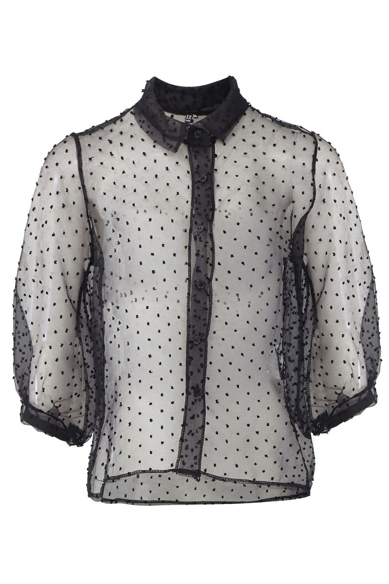 Black | Polka Dot Button Front Sheer Shirt