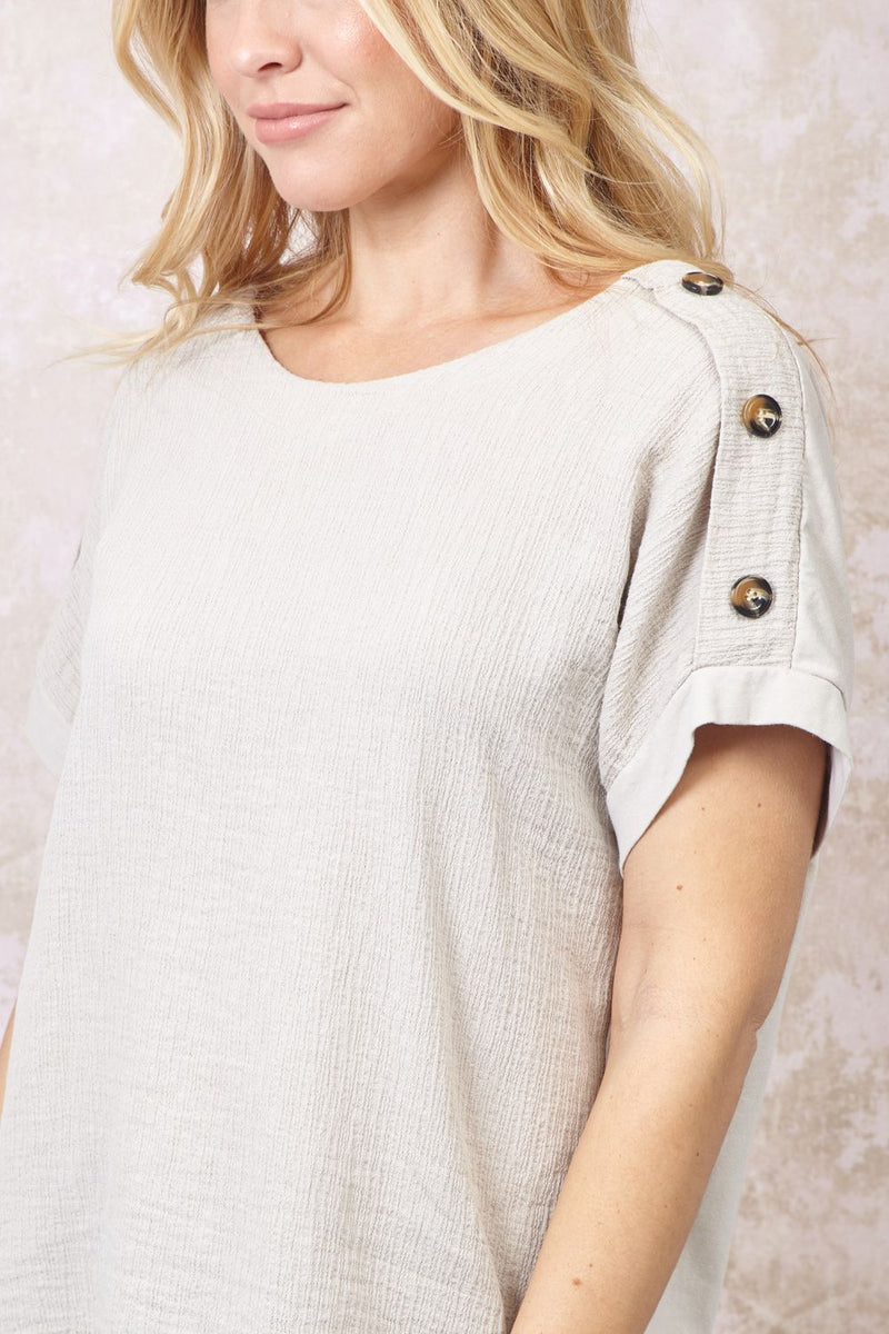 Stone | Button Detail Shoulder T-shirt