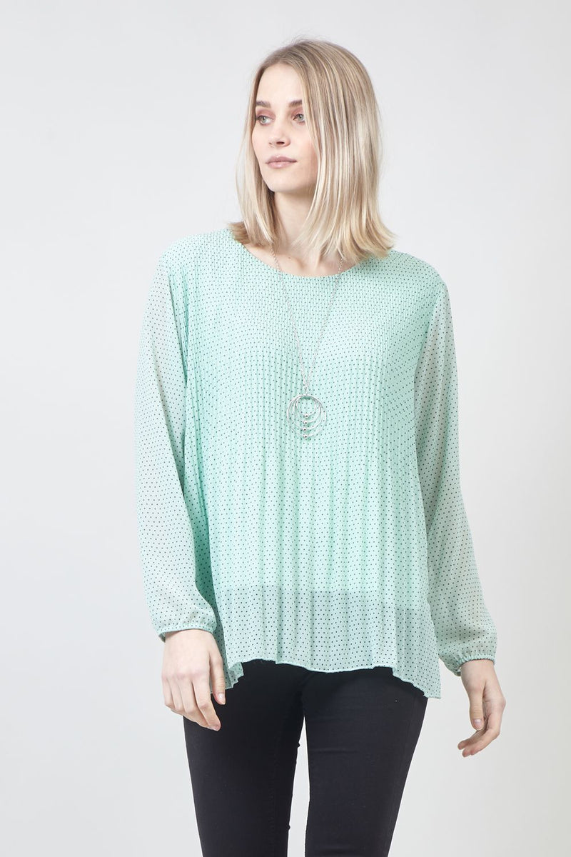 Green | Polka Dot Blouse with Necklace