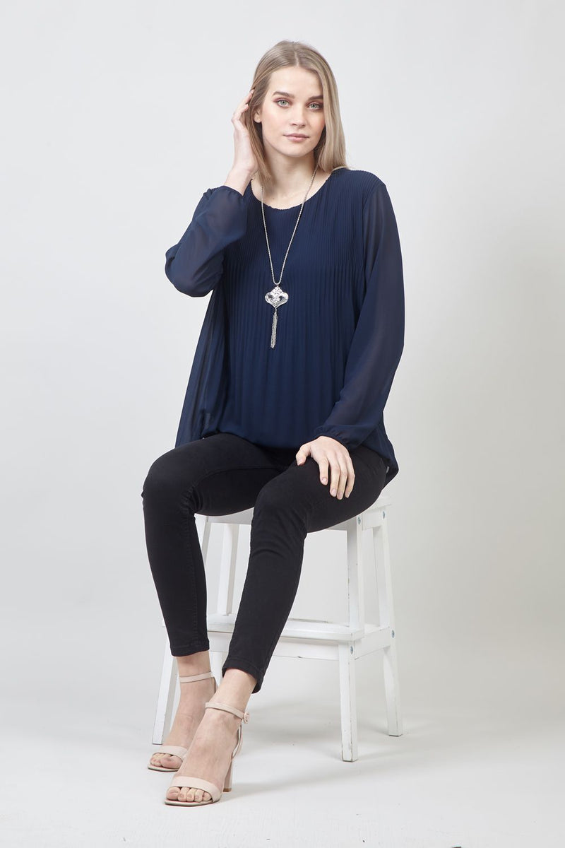 Navy | Pleated Blouse with Necklace