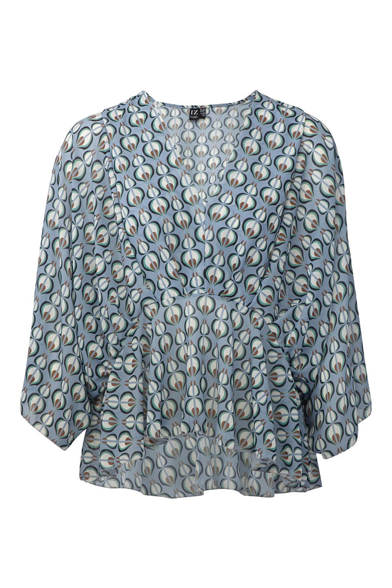 Blue | Retro Print Peplum Blouse