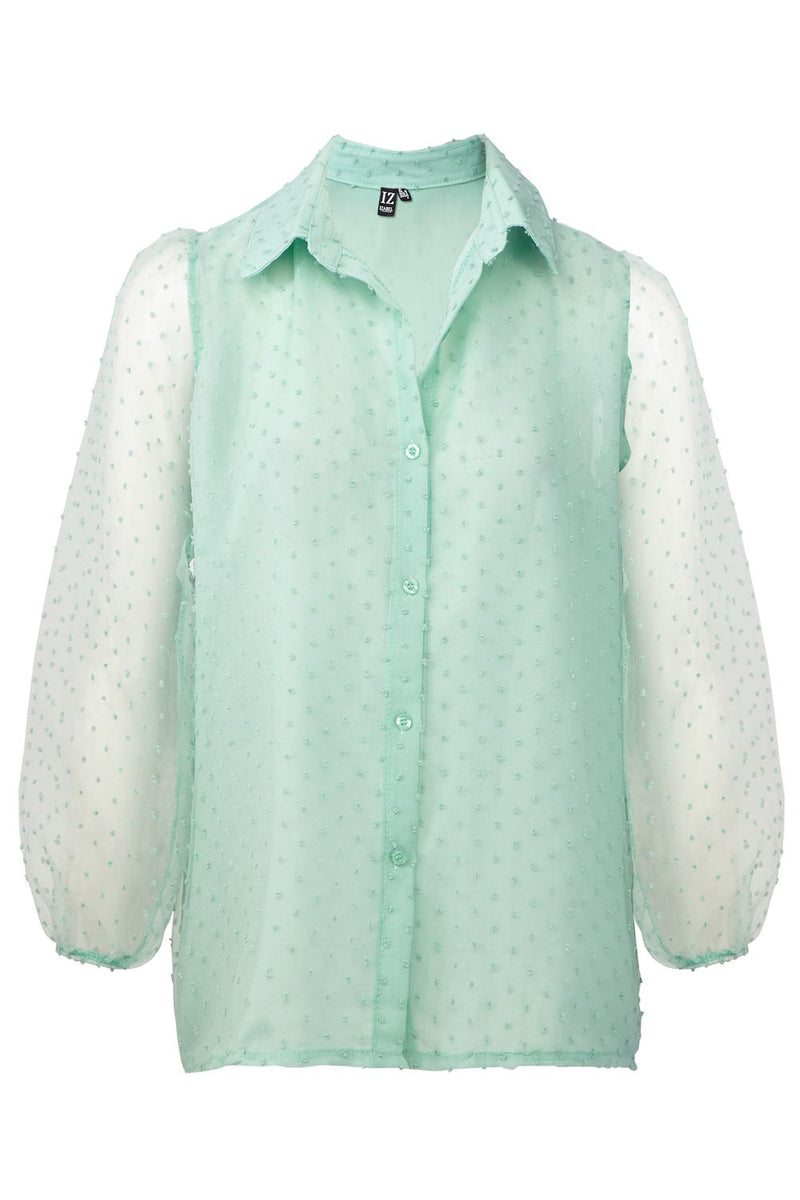 Green | Button Front Balloon Sleeve Shirt
