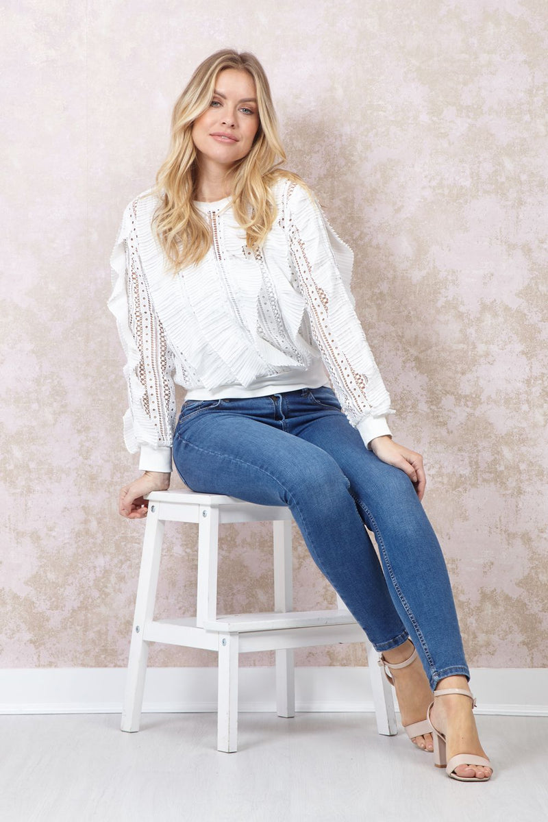 White | Ruffle Front Long Sleeve Blouse