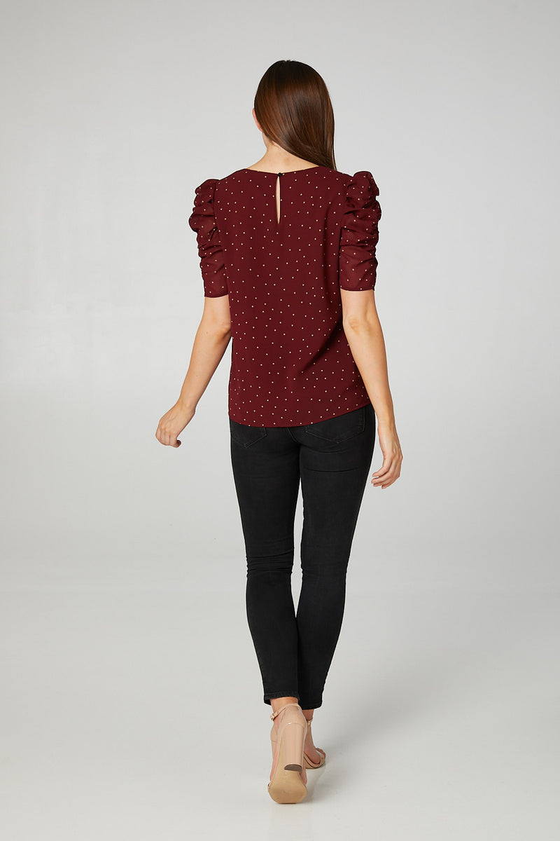 Red | Polka Dot Ruched Sleeve Blouse