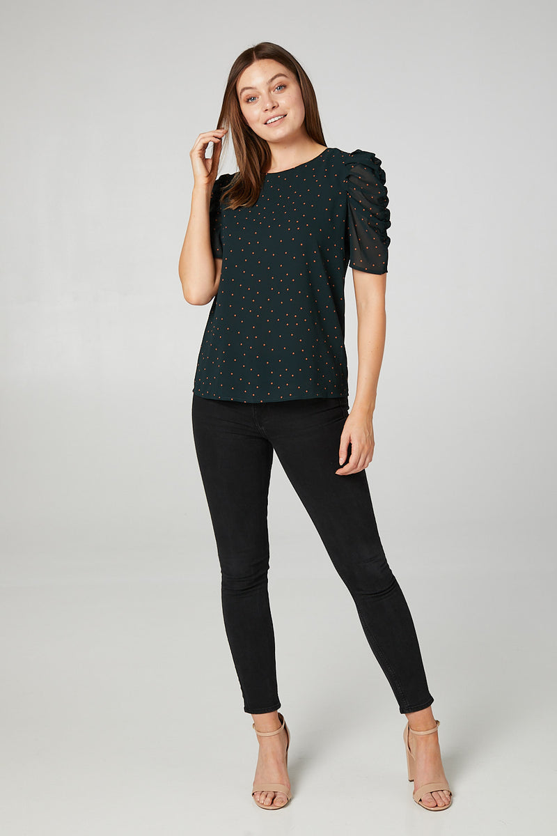 Green | Polka Dot Ruched Sleeve Blouse