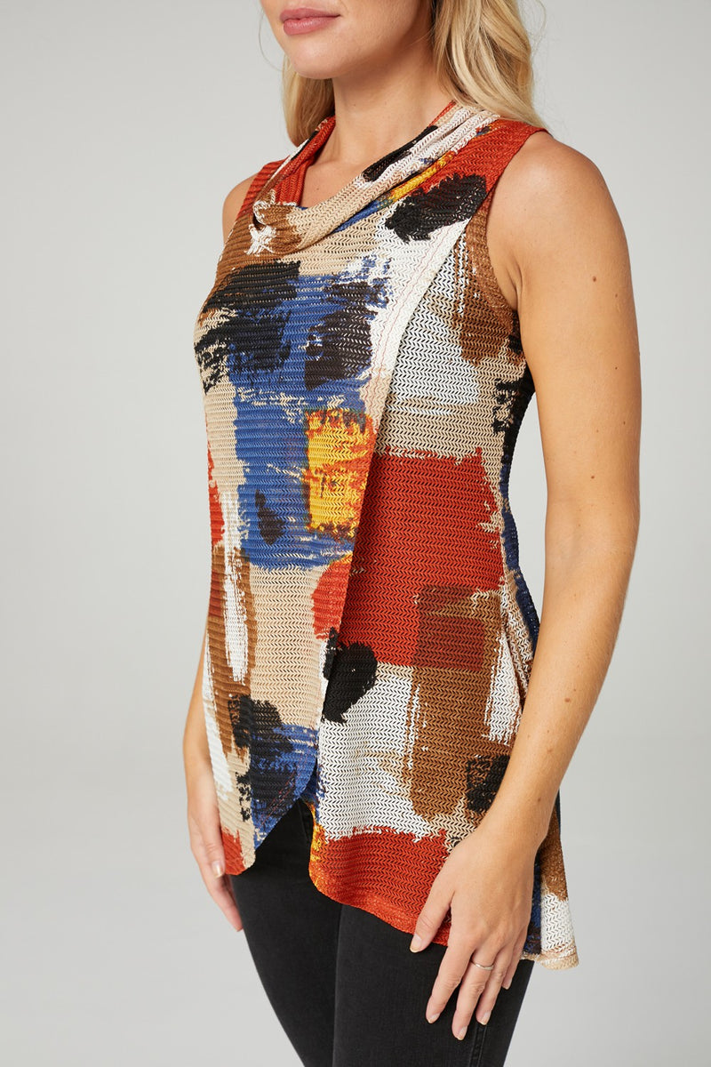 Brushstroke Print Cowl Neck Top