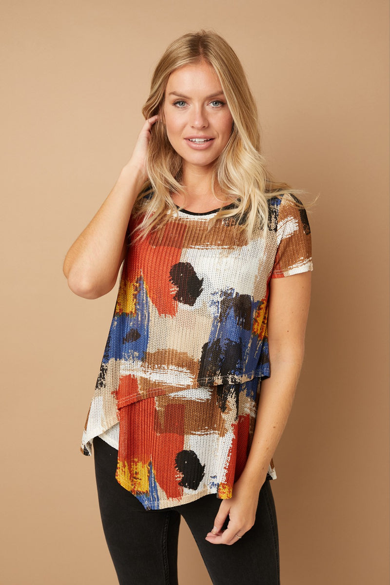 Brushstroke Print Layered Front Top