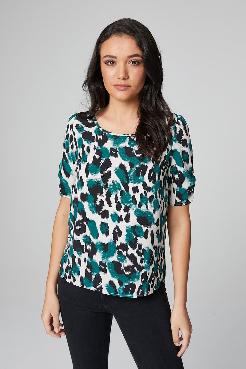 Green | Animal Print Puff Sleeve Blouse