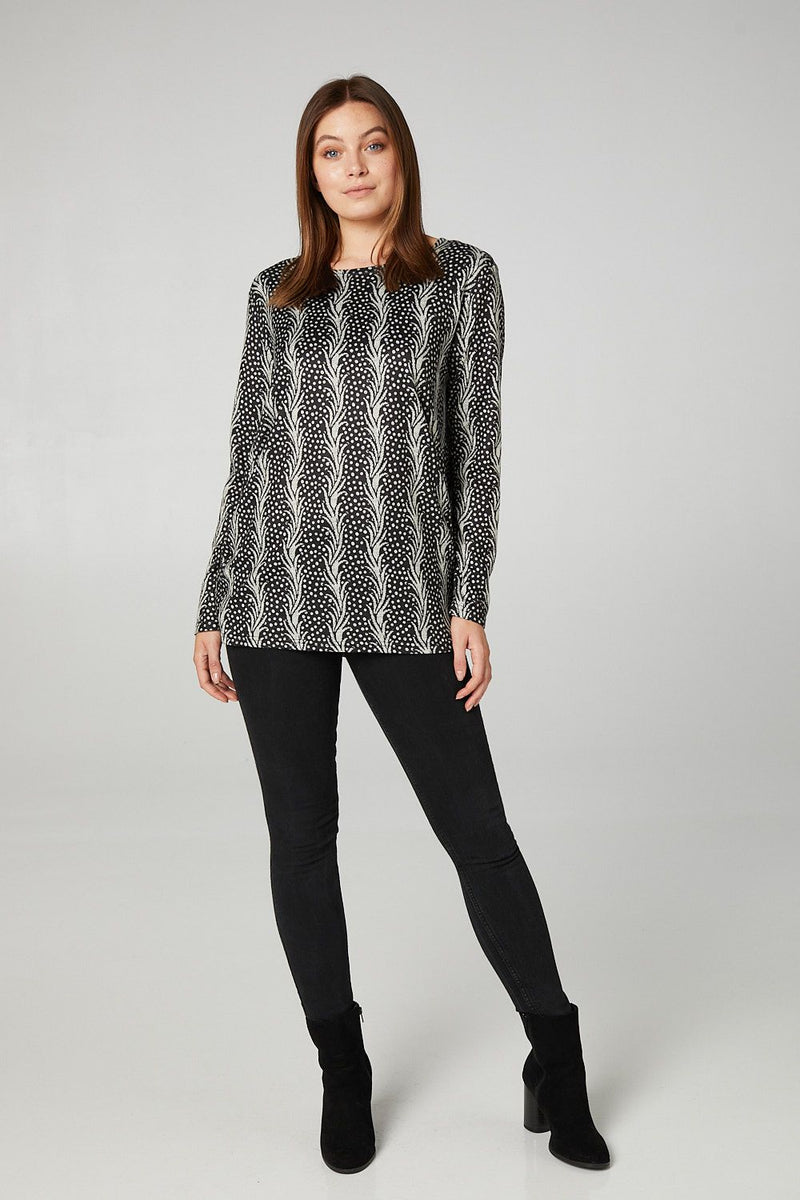 MULTI BLACK | Leaf Print Ruched Side Sweater