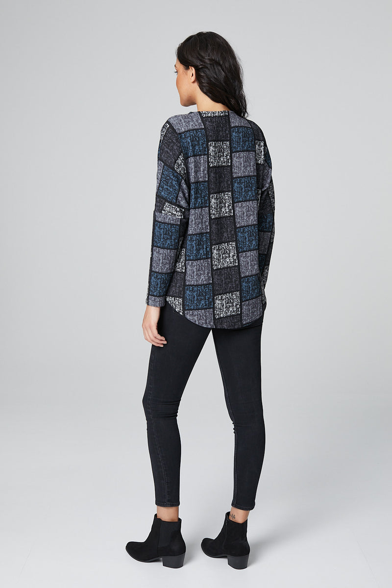 Grey | Zip Front Check Print Slouchy Jumper