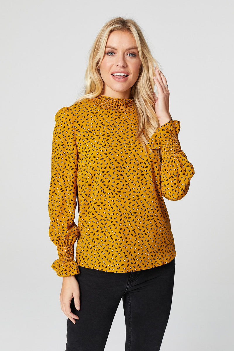 Mustard | Ditsy Print High Neck Blouse
