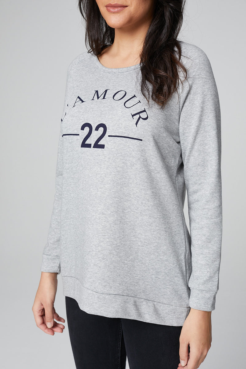 GREY | L'amour Print Slouchy Sweater