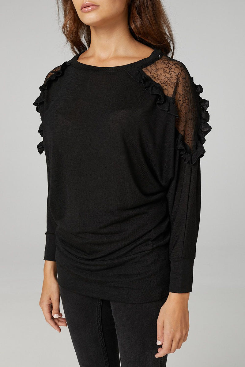 BLACK | Lace Detail Slouchy Jumper