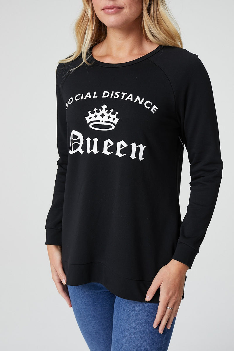 Black | Slogan Print Lounge Jumper