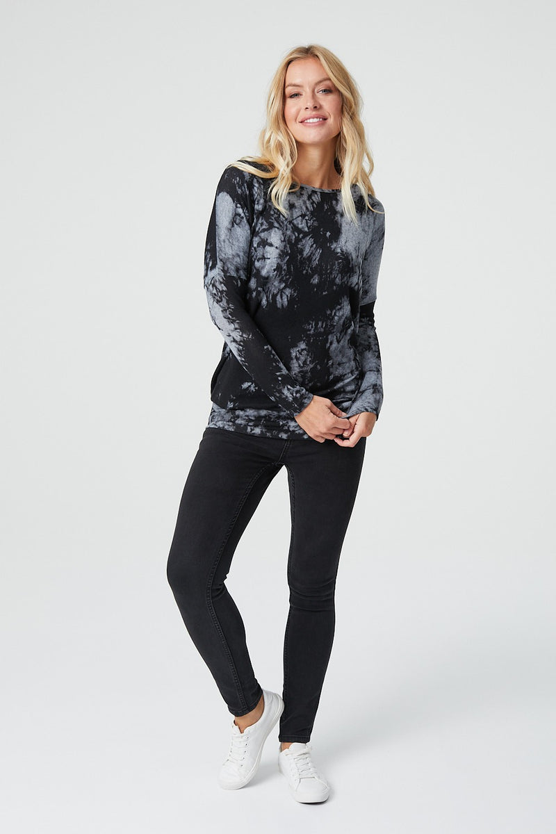 Black | Tie Dye Long Sleeve Oversized Jumper