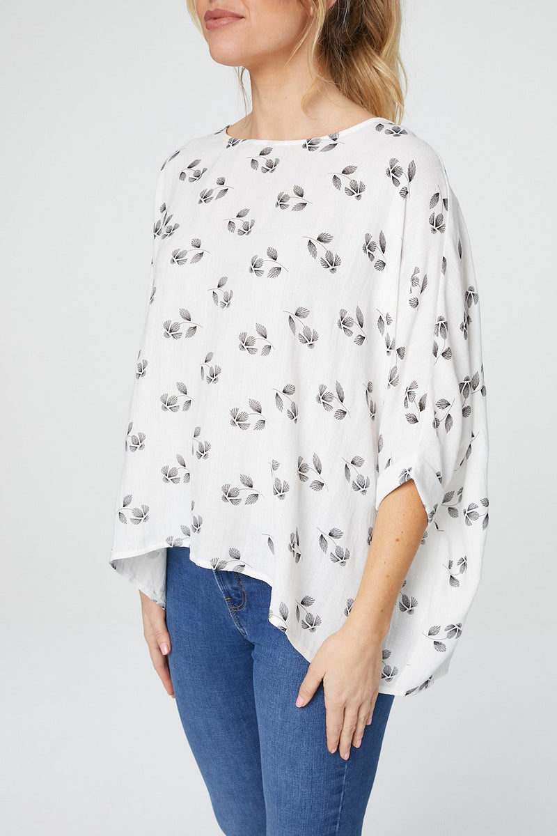 White | Floral Oversized Blouse
