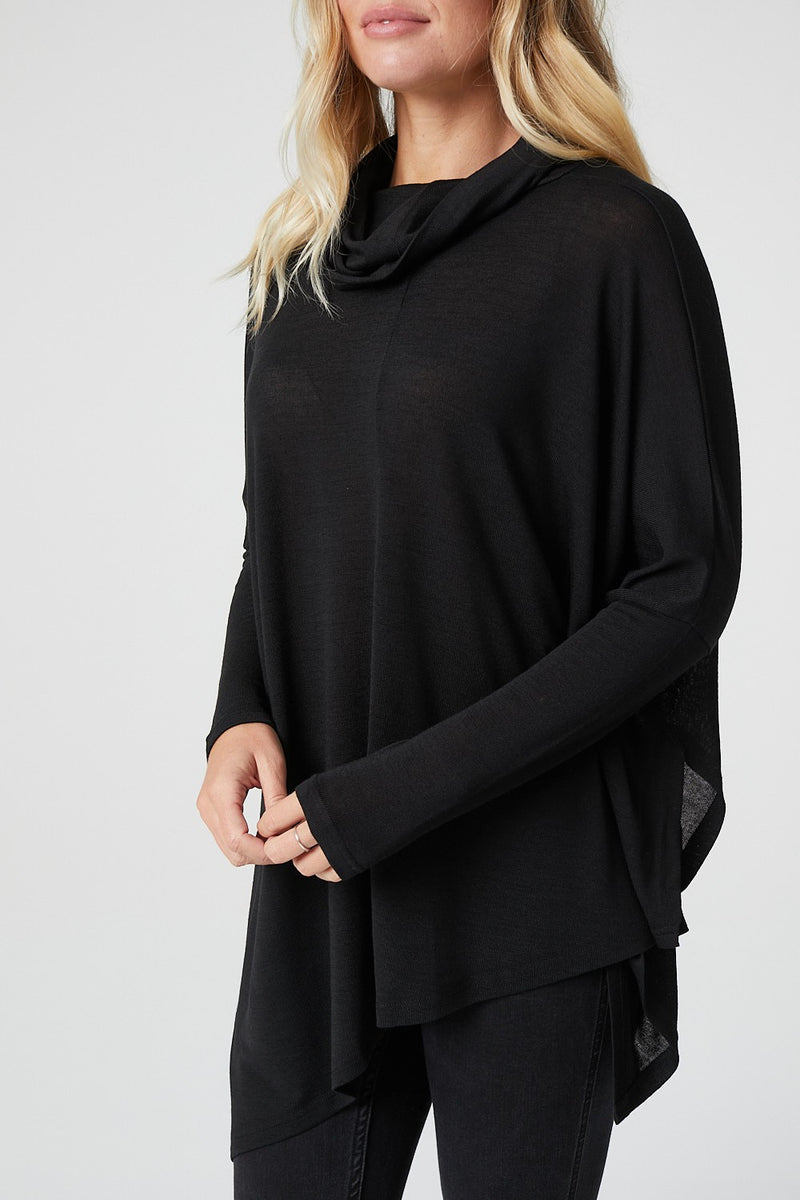 Black | Cowl Neck Asymmetric Hem Top