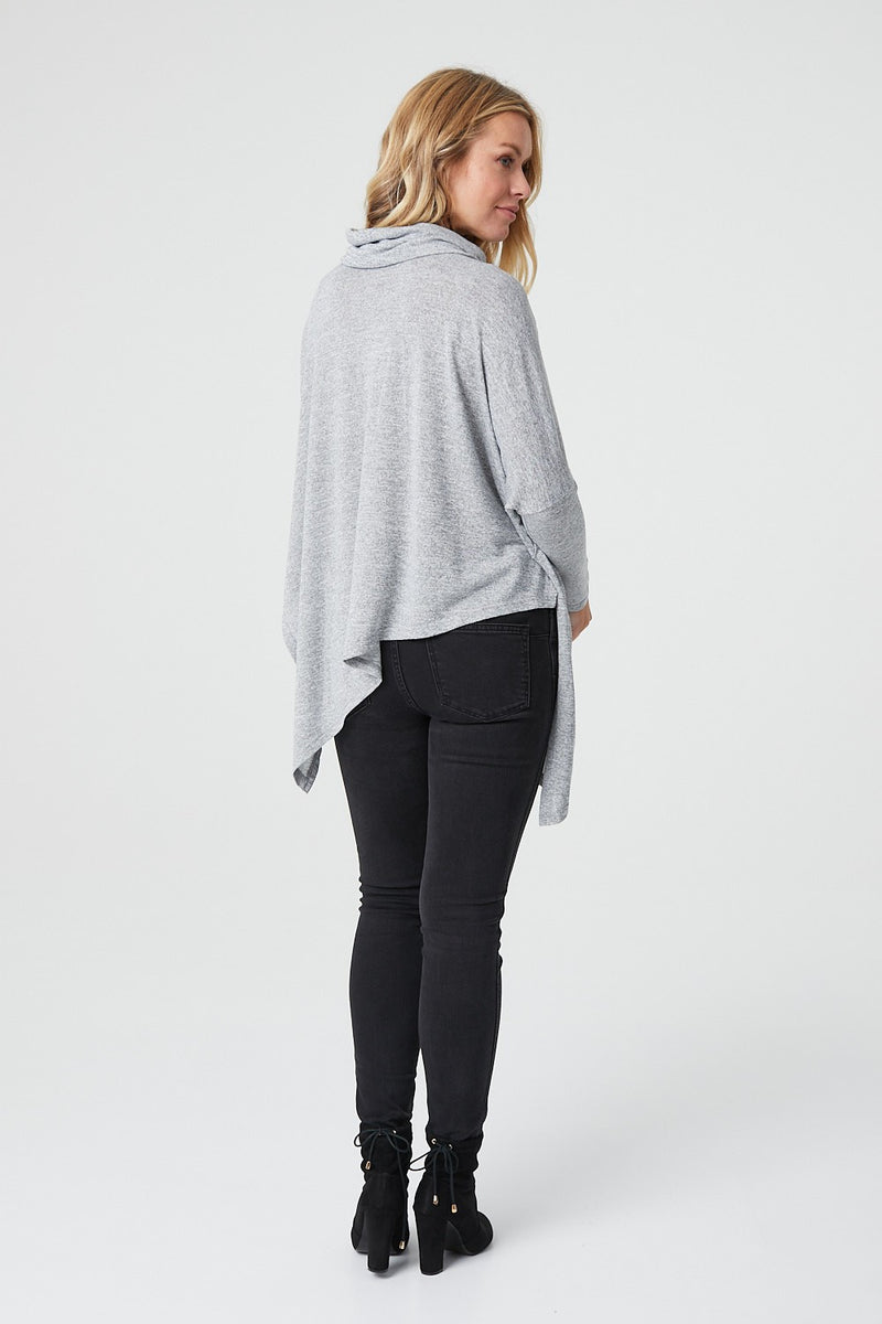 Grey | Cowl Neck Asymmetric Hem Top